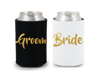 Bride & Groom Drink Coolers Party Favors Black White Gold Silver Rose Gold Hot Pink Drink Cooler Favors Bottle Can Holders
