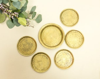 small vintage brass coasters, vintage small brass plates, Set of six