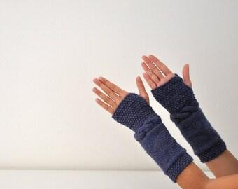 Wool Fingerless Gloves Armwarmers Blue Denim Hand Knit Chic Autumn Accessories Fall Fashion Christmas