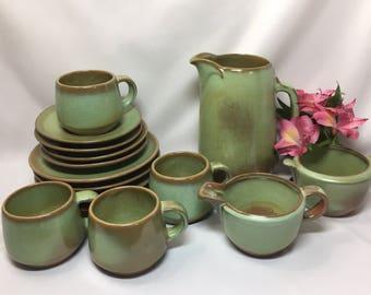 Frankoma Westwind Prairie Green Coffee Set for 4 & Frankoma creamer | Etsy