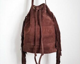 Ladies Bucket Bag / Handbag/Crossbody Tan Suede - Coffee Colour