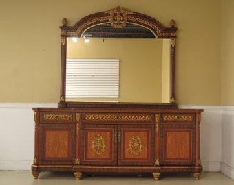 F44383EC: French Louis XV Style Dresser w. Matching Mirror