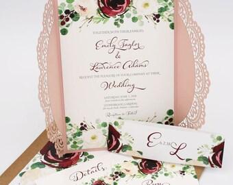 Burgundy and Blush Wedding Invitations - Laser Cut - Wedding Invitations - Burgundy Blooms Collection Deposit