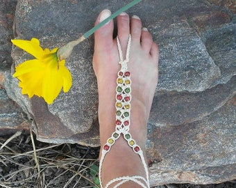 Hemp Barefoot Sandal with beads one size