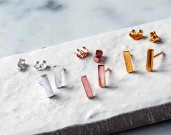 Bar Stud Earrings, Sterling Silver, Minimalist Jewellery, Contemporary Studs, Minimal Earrings, Geometric Earrings, Simple Silver Earrings
