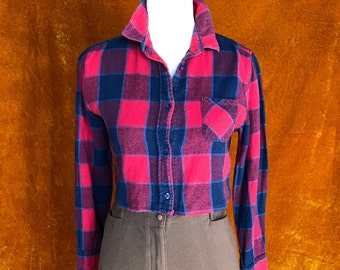 Crop Top, Women's Small, Flannel Button Up, Plaid, Red and Blue,