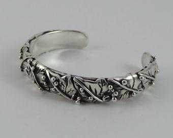 Silver Ivy Leaf Bangle/Cuff Hand Made