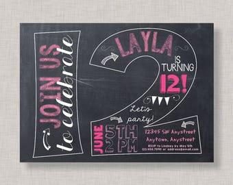 12th Birthday Invitation, Twelfeth Birthday Invitation, Girl Birthday Invitation, 12th, Number 12, Twelfth Birthday, Girl 12th, Chalkboard
