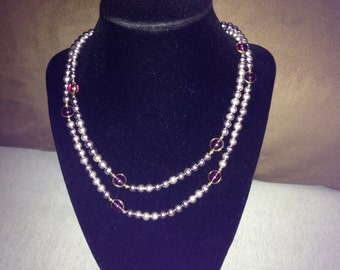 Vintage Faux Metallic Pearl and Purple Bead Necklace