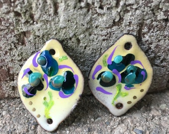 """Yellow Floral Torched fired enamel charms. Measures 1 1/4 X 1"""". One hole top and bottom."""