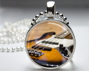 Bass Guitar Round Pendant Necklace with Silver Ball or Snake Chain Necklace or Key Ring