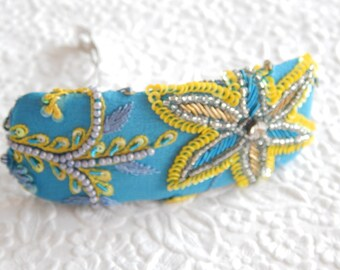 Aqua yellow embroidered beaded barrette, thick hair clip, ponytail holder,BACK IN STOCK