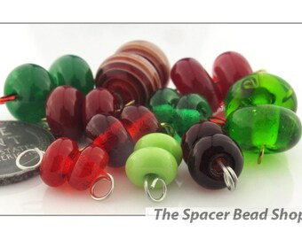 JINGLE BELLS Red Green Bead PAIRS Lampwork Spacers Glass Handmade - The Spacer Bead Shop