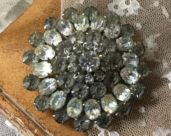 Largish Sparkling Clear Smoky Rhinestone Brooch Pin Unsigned 1950's 1960's Round Circular Silver Tone Metal Bling Jewelry Tiered Setting