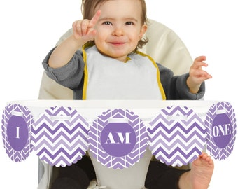 Chevron Purple - 1st Birthday - I Am One - First Birthday High Chair Banner - First Birthday Party Decorations