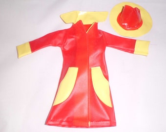 Vintage Barbie/Clone Red Raincoat & Hat with Yellow Trim