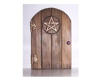Handcrafted Wooden Fairy Door - Pentacle Design ~ Pentagram Faerie Pagan Gifts