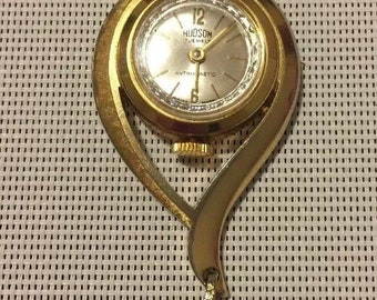 Vintage HUDSON Antimagnetic 17 Jewel Swiss Watch Pendant WORKS! 12.30.11