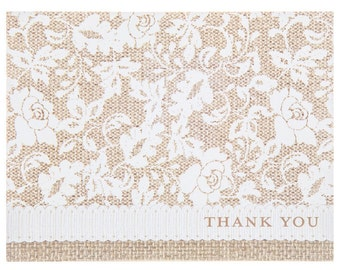 Burlap and Lace Paper Wedding Bridal Shower Party Thank You Cards and Envelopes - Set of 50