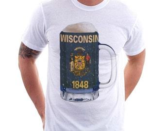 Wisconsin State Flag Beer Mug Tee, Unisex, Home State Tee, State Pride, State Flag, Beer Tee, Beer T-Shirt, Beer Thinkers, Beer Lovers Tee