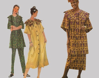 Skirt Dress Tunic Pants Pattern by Shanti Simplicity 7052 Step in front button dress and tunic Shawl collar Bust 30 - 38 inches