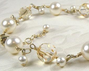 Ivory Pearl Bracelet, Gold Filled, Champagne Crystals, Swarovski Pearl, Wedding Bridesmaid Jewelry, Handmade Custom Wedding