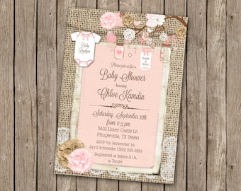Burlap Rustic Baby Girl Shower Invitation, Mason Jar, Shabby Chic, Pink, Clothes line, Onsie, 5x7 - T1