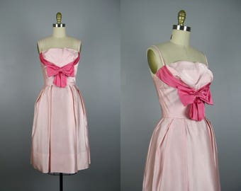 Vintage 1950s Pink Satin Dress with Pink Bow 50s Satin Party Dress by Lorrie Deb Size S