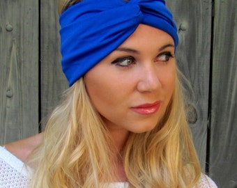 Wide Turban Headband Knotted Head Wrap Blue Headband All Around Stretch Yoga Headband Running Women's Hair Accessory or Choose Your Color