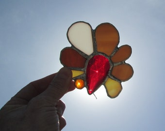 Stained Glass Crystal Flower Mobile Suncatcher - Campfire