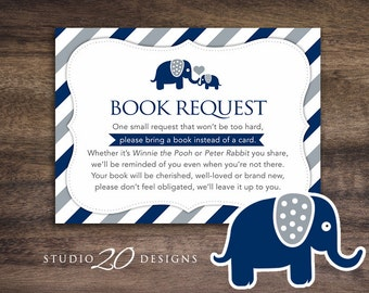 Instant Download Navy Elephant Book Request, Elephant Book in Lieu of Card, Navy Grey Boy Elephant Baby Shower Book Instead of Card 22G