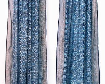 Back order-BLUE TURQUOISE Tie Dye Boho Window Treatment, Indian Sari window curtains sheer panel, bohemian decor