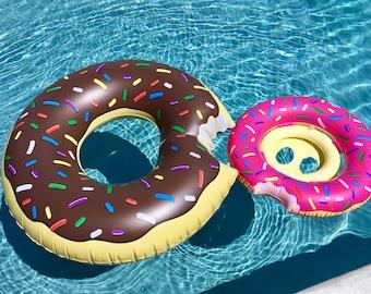 Donut Pool Float,Adult Pool Float, Mini Donut Pool Float, Custom Personalized Pool float. Pink sprinkle donut float, monogram pool float