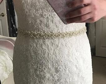 Wedding Belt Sash/ Bridal Rhinestones Sash, Pearl belt, Wedding accessories