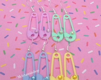 Pastel Safety Pin Rhinestone Earrings