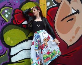 Plus Sized Pleated Duck Tales Skirt, Classic 80s/90s Cartoon