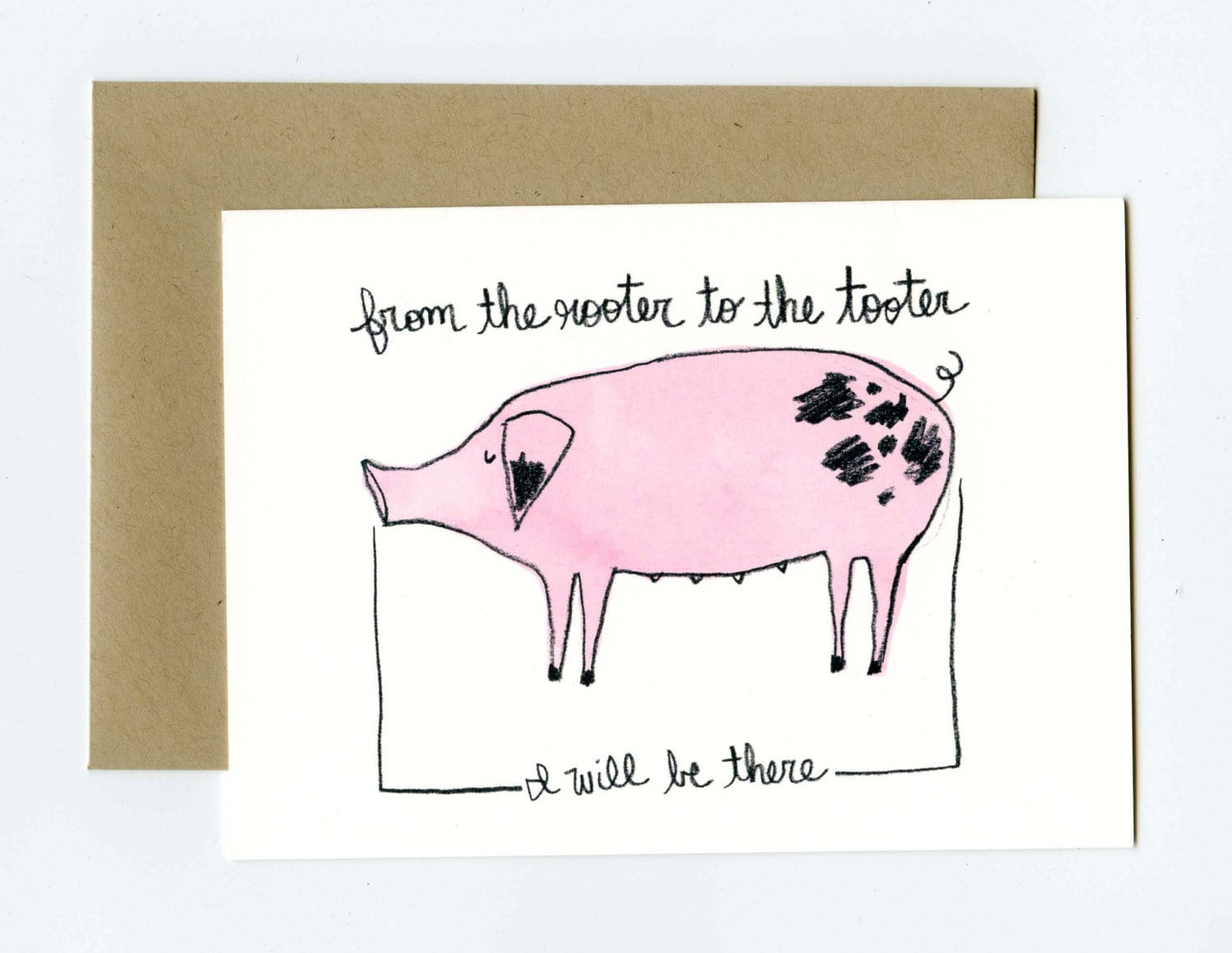 Rooter to the tooter spotted pig greeting card kristyandbryce Gallery