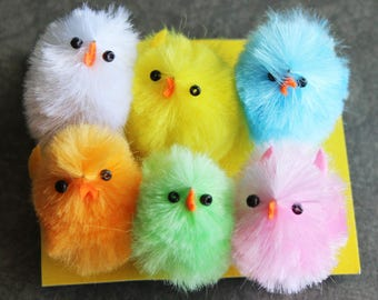 6 Large Chenille Chicks - Assorted Chenille Chicks - Dollhouse Miniatures- Kids Crafts - Vintage Style Easter Basket Decorations - Supplies