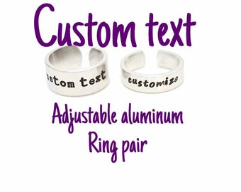 Custom Text Aluminum Adjustable Metal Stamped Aluminum Ring // gift for gamer couple geek nerd geekery you pick the phrase