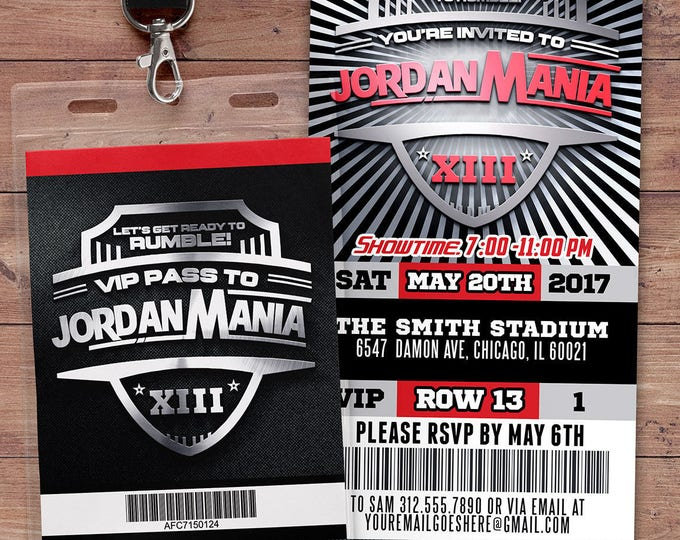 Wrestle Mania Wrestlemania, Ticket Birthday Invitation, boy's birthday, 30th, 40th, boxing, fighting, wrestling party