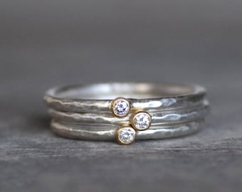 Tiny Diamond Ring Set - 18k Gold and Silver Stack Rings - Set of 3 Diamond Stack Rings - Eco-Friendly Recycled