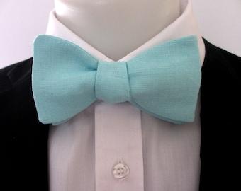 Bowtie ~  Linen bowtie ~ Glacier  blue ~ mens bowtie