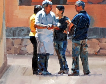 Giclee art print, of my, impressionist oil painting, painted, with a, palette knife, fine art print, 'Serious Conversations'. Wall Art.'.