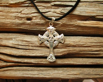 Celtic Cross with Triquetras-Sterling Silver