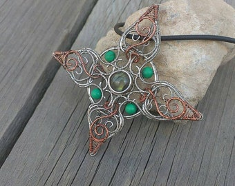 Wire wrapped green star pendant with labradorite and malachite