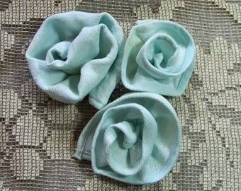 Hand Stitched Fabric Flowers, Roses Appliques, Made From Aqua Vintage Damask Napkins, Set of 3, Bin 1