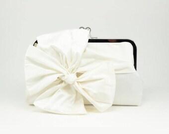 Bridal Clutch | Bow Clutch | Ivory Wedding Clutch | Silk Clutch [Classic Bow Clutch: Ivory Silk]