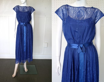Bold Blue Woman's Vintage Dress