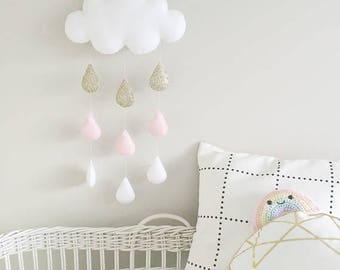 Cloud and water drops, room child, baby, cloud, or white or gray color gold or Silver Star, cloud rain drops