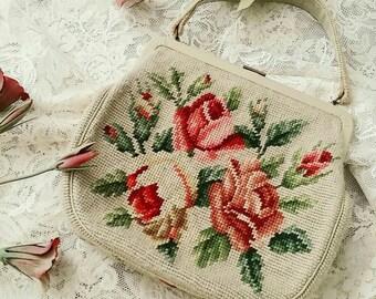 SALE vintage floral needlepoint purse. carpet bag. handmade bag.